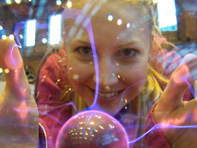 Looking through a plasma ball at the Big Bang Fair 2010.