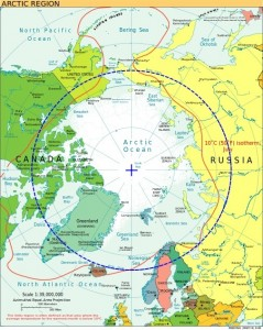 Map of the North showing the Arctic Circle