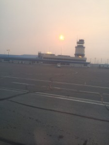 Hazy Sun through the smokey air at the airport in Yellowknife.