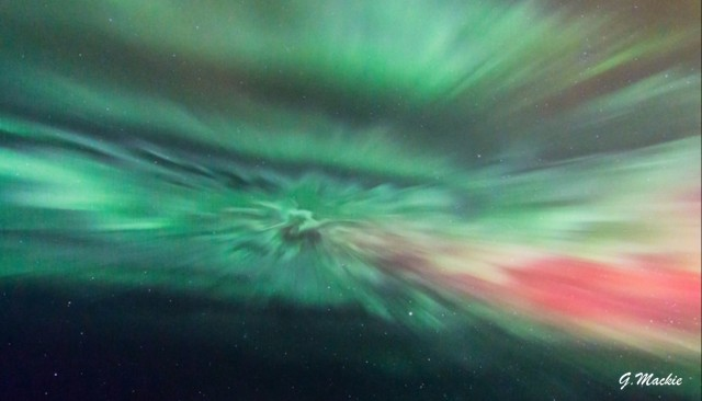 Auroral corona by Gordon Mackie, Scotland.