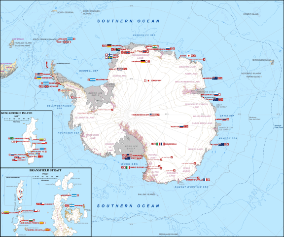 Map of Antarctica and research stations.