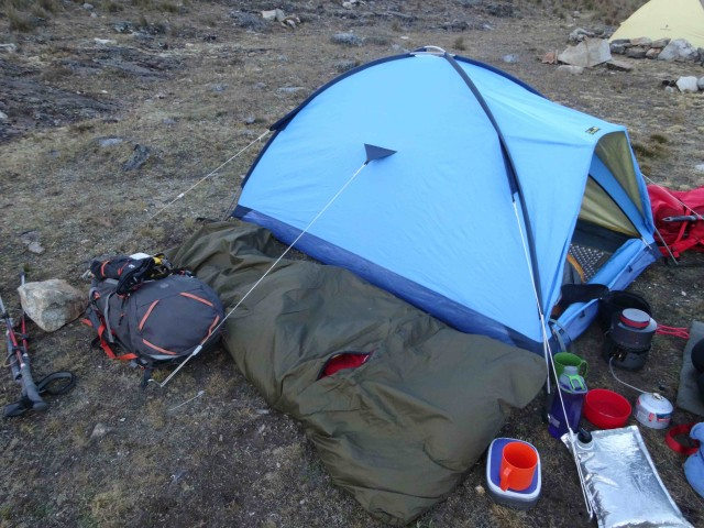 My first bivi.  I slept in the bag beside the tent.