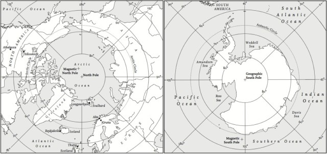 Maps of the Arctic and Antarctic.