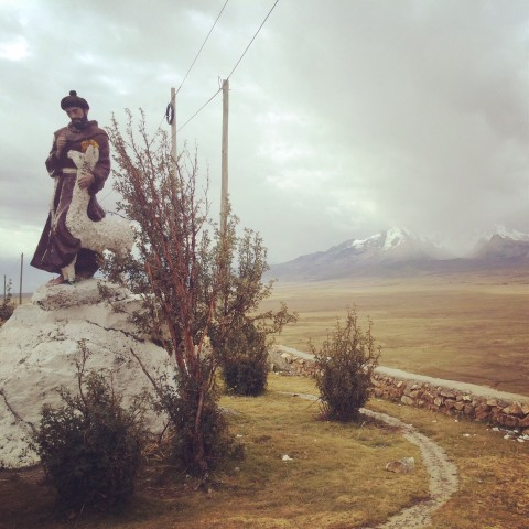St Francis of Assisi in the mountains on the way to Huaraz.