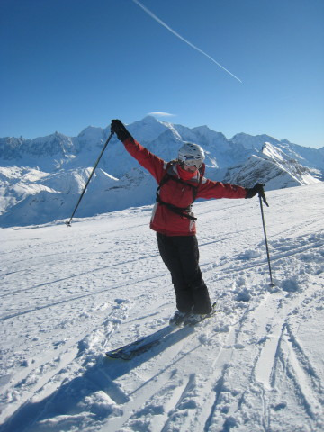 Enjoying the skiing and the view of Mont Blanc. Ok, so it's not technically work, but there's lots of physics involved!