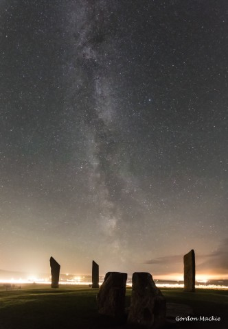 The milky way seen over standing stones at Stenness, Orkney.  Photo by Gordon Mackie.