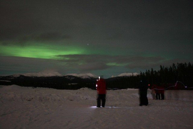 Watching the northern lights from Whitehorse, Canada.