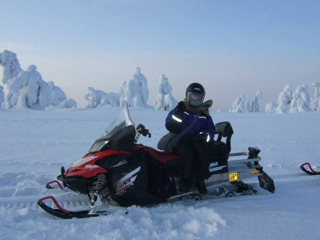 Out on a skidoo ride in Finnish Lapland.