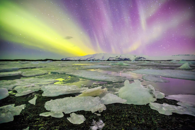 Northern Lights at Jokulsarlon Glacier Lagoon, Iceland.