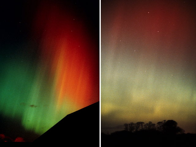 Aurora over Musselburgh, Scotland; Red aurora in Ursa Major near Cousland, East Lothian, Scotland, 1989.