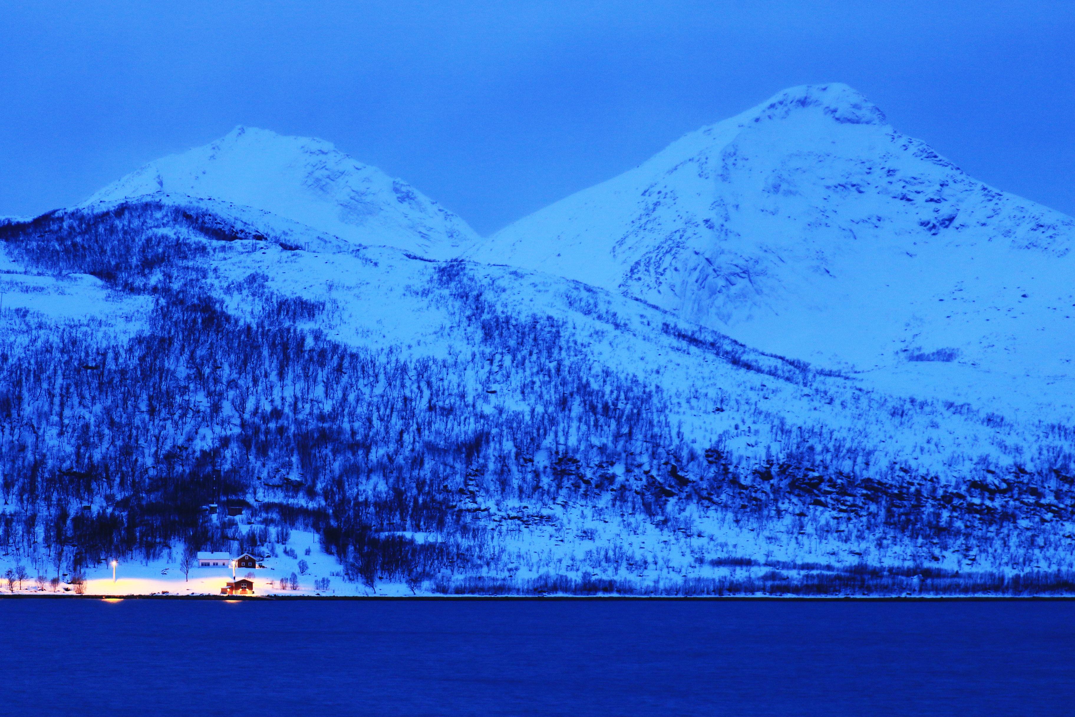 Blue late-afternoon light in Tromsø
