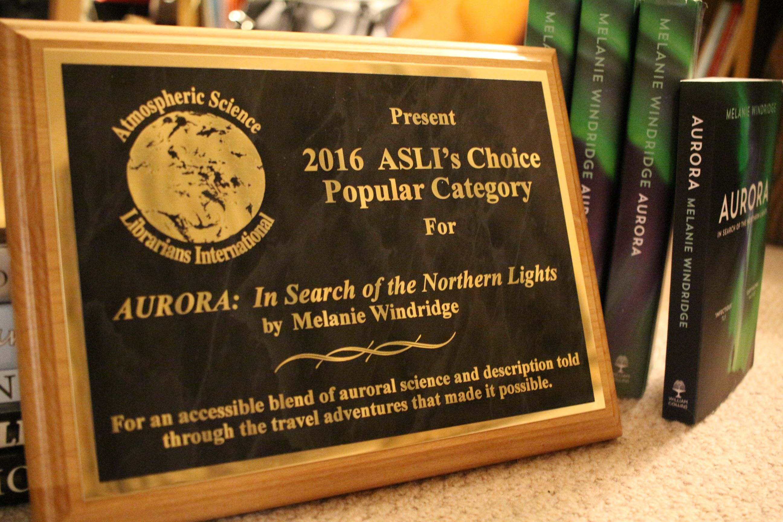 ASLI award for Aurora: In Search of the Northern Lights