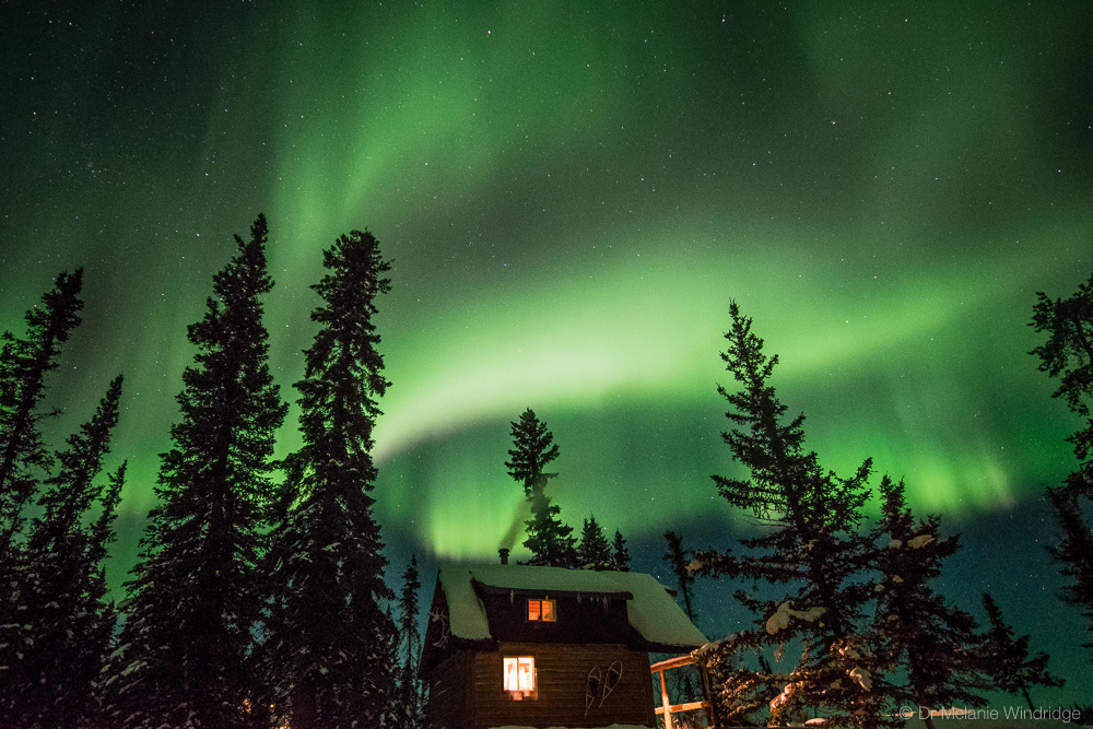 Aurora above one of the cabins at Blachford Lake Lodge.