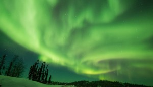 A night of active aurora at  Blachford Lake Lodge, near Yellowknife, Canada.