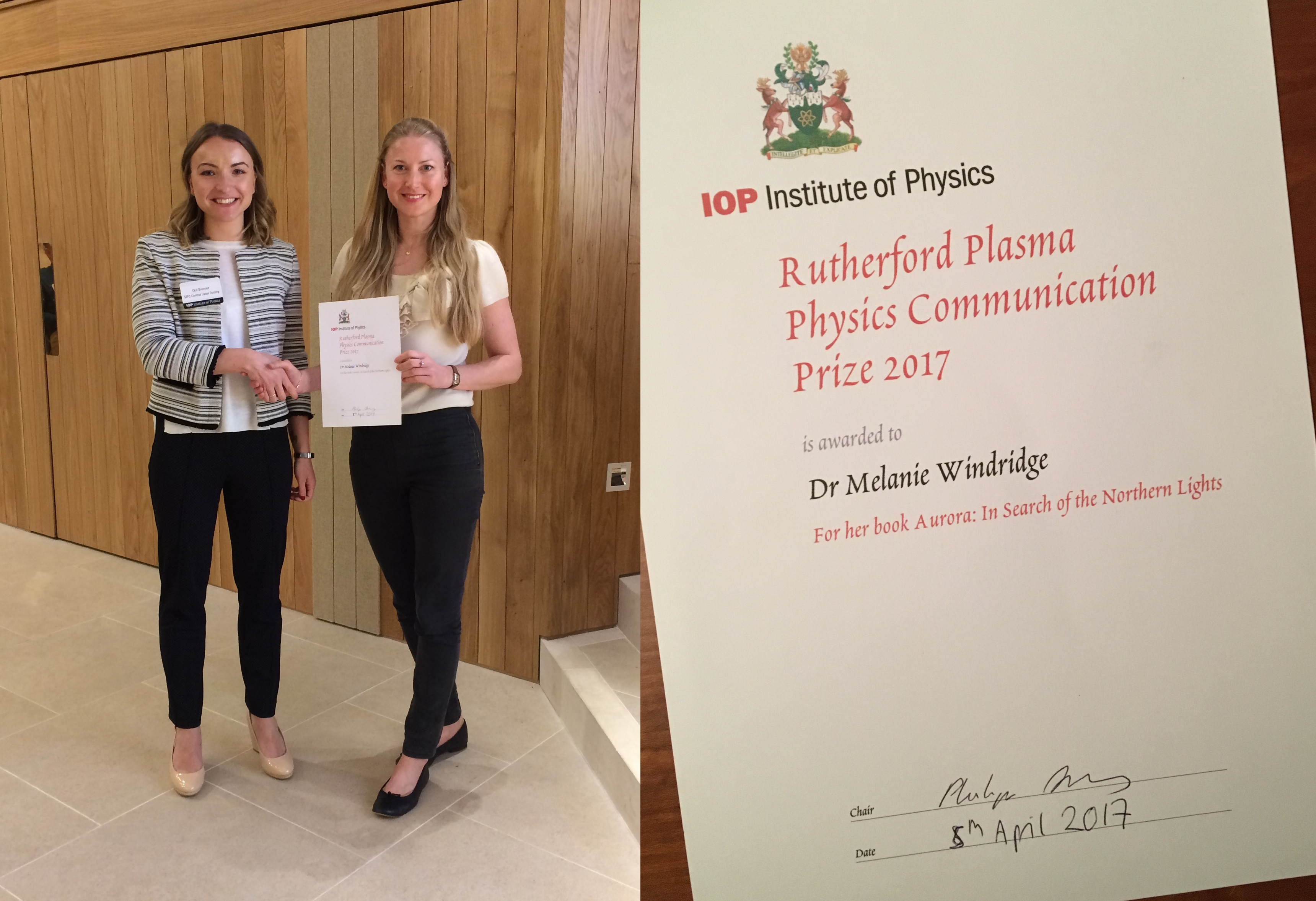 Melanie Windridge is awarded the Rutherford Plasma Physics Communication Prize by Ceri Brenner.