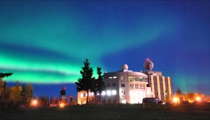 Aurora appears over the University of Alaska, Fairbanks. Courtesy of Taro Nakai.