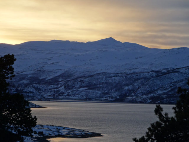 Haldde mountain, seen from across the fjord in Alta.