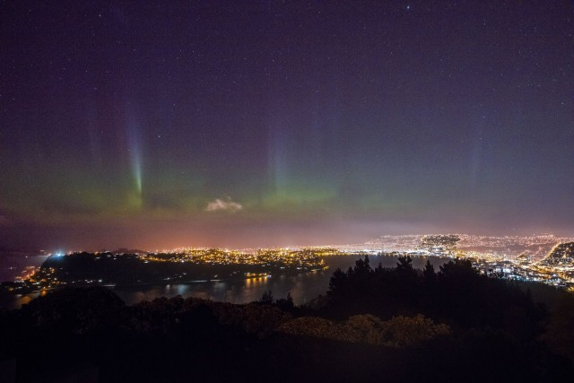 Aurora australis above the city of Dunedin, New Zealand.