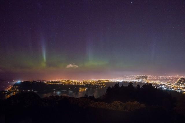 Aurora australis above the city of Dunedin, New Zealand.