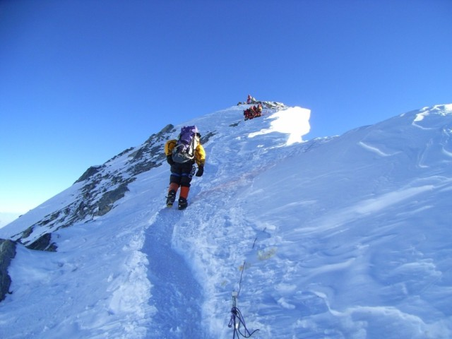 Caldwell Xtreme Everest team approaching the summit. Photo courtesy of Xtreme Everest.