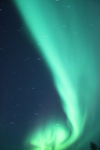 Green northern lights seen in Sweden.