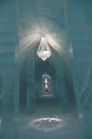 A corridor of the Ice Hotel, Sweden.
