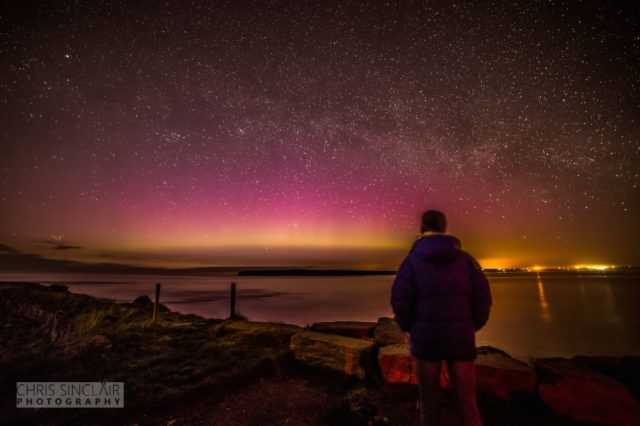 We all have a connection to the sky. Me looking for aurora in Caithness, Scotland, but Chris Sinclair.