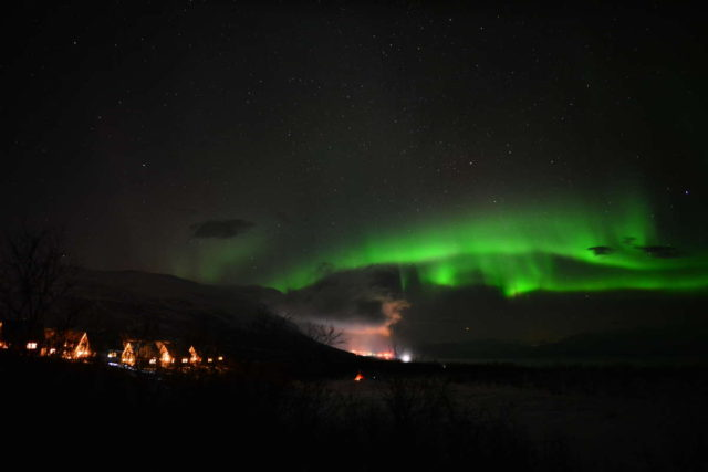 Aurora seen over Abisko.  Photo courtesy of the Aurora Sky Station website.