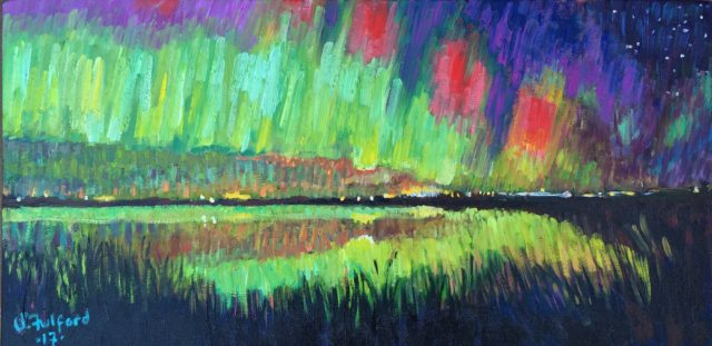 The northern lights painted in the style of Van Gogh by Val Fulford.
