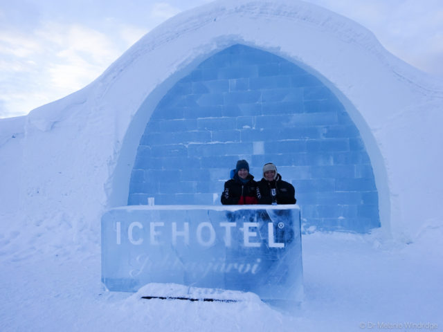 Me and my mother outside the Icehotel.