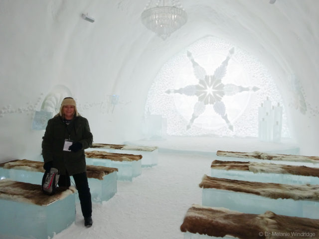 My mother, Sheila, in the Icehotel ceremony room.