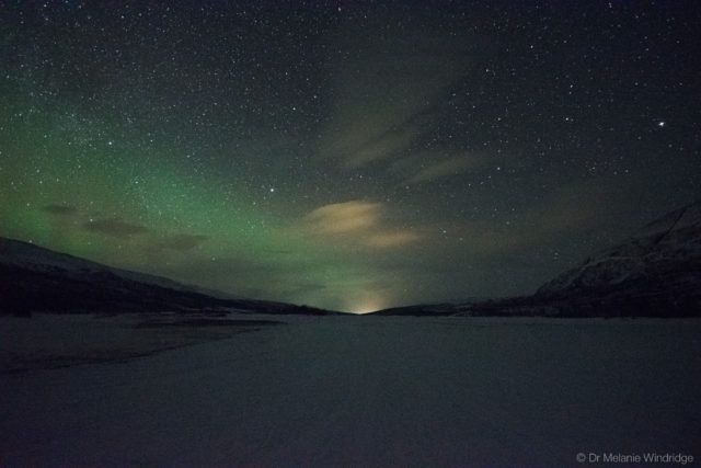 Pale aurora over the Abisko National Park.