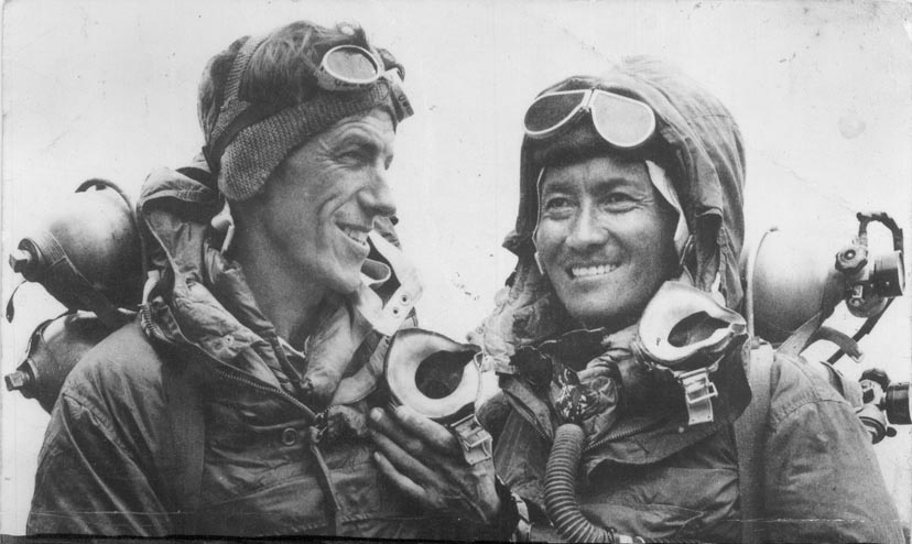 Edmund Hillary and Tenzing Norgay after summitting Mount Everest, 1953.