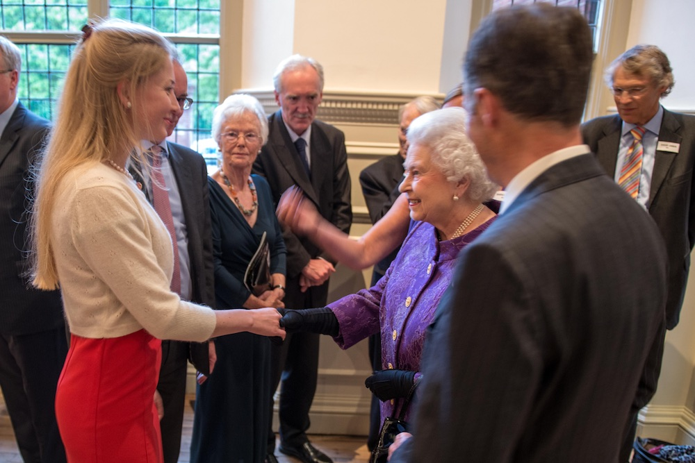 Melanie Windridge meeting Her Majesty the Queen at the 60th anniversary celebrations of the first ascent of Mount Everest.