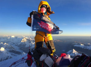 Dr. Melanie Windridge on the summit of Everest
