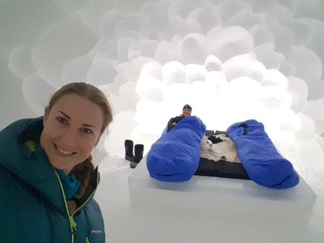 Me and my mum in our Icehotel Art Suite called Cumulus - a cloud room.