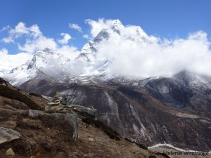 Clouds build up in the mountains beyond Dingboche. Dr. Melanie Windridge
