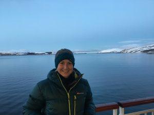 Melanie Windridge in Kirkenes Aurora Hurtigruten Astronomy cruise