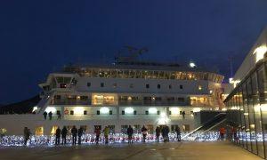 Hurtigruten Astronomy Voyage MS Finnmarken docked in Tromsø