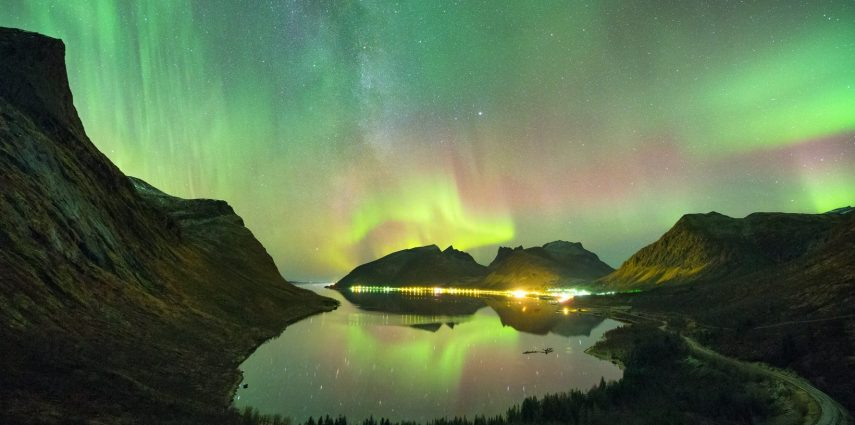 Aurora and milky way over the beautiful Bergsbotn, taken from the viewing platform. Photo: Adrien Mauduit