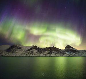 Aurora pillars Mefjord Mount Segla Senja