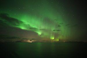 Northern lights seen from a Hurtigruten cruise in December 2018. Photo: Eva Stiegler