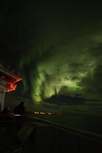 Northern lights seen from a Hurtigruten cruise in December 2018. Photo: Graham Bryant