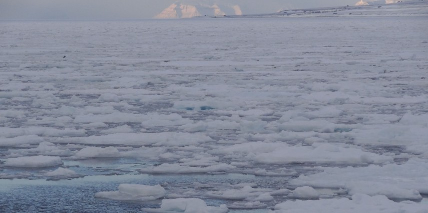 Cold water - the fjord at Longyearbyen, Svalbard