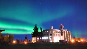 Aurora appears over the University of Alaska, Fairbanks. Courtesy of Taro Nakai.