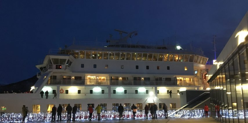 MS Finnmarken docked in Tromsø