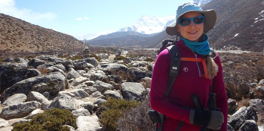 Melanie trekking to Everest Base Camp. On Everest, Melanie wore the Julbo Cameleon lense. The Julbo range adapts to changing UV levels within 20-30 seconds.