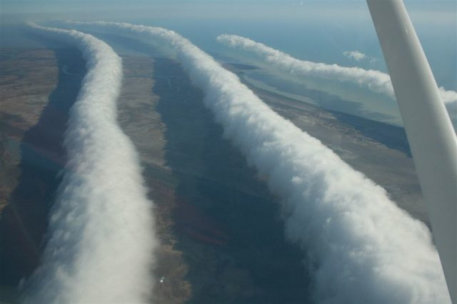 Morning Glory Cloud from a plane, Burketown. Photo: Mick Petroff