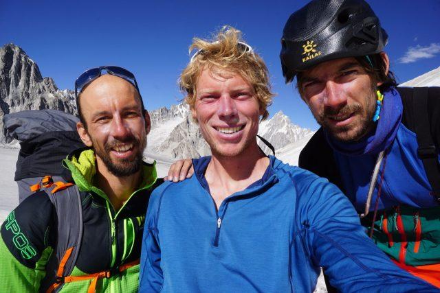 Luka, Tom and Aleš after climbing Latok 1, Pakistan. Photo: Tom Livingstone